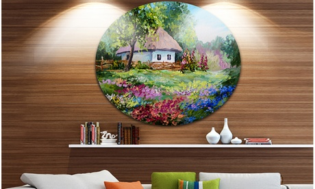 House in the Village Oil Painting' Landscape Circle Metal Wall Art 92746f7a-e438-4282-a0a9-bbbfe1e6771f