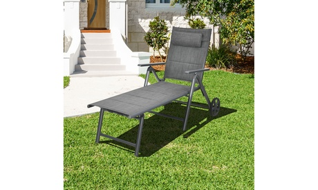 Costway Patio Reclining Chaise Lounge Padded Chair Aluminum Adjust Neck Pillow