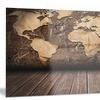 Vintage Map with Wooden Floor - Contemporary Aluminium Artwork