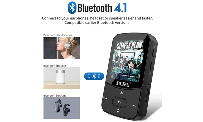Black Clip Mp3 Player with Bluetooth 4.1 16GB Lossless Sound Music Player with FM Radio Voice Recorder Video Earphones for Running Support up to 128GB
