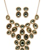 Grey Crystal Necklace and Earrings 2-Piece Set In Yellow Gold Tone