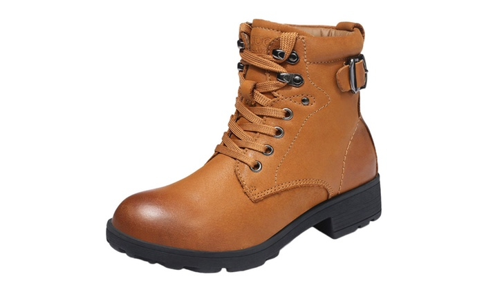 Women's Leather Fur Lined Hooks Lace Up Side Buckle Combat Boots
