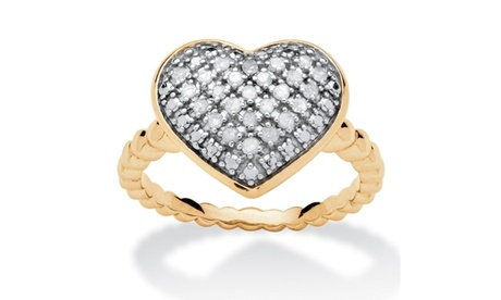 1/4 TCW Diamond Puffed Heart Ring Set in 18k Gold Over Sterling Silver 5feb589e-60a6-48b8-a0a7-4d93f9db2020