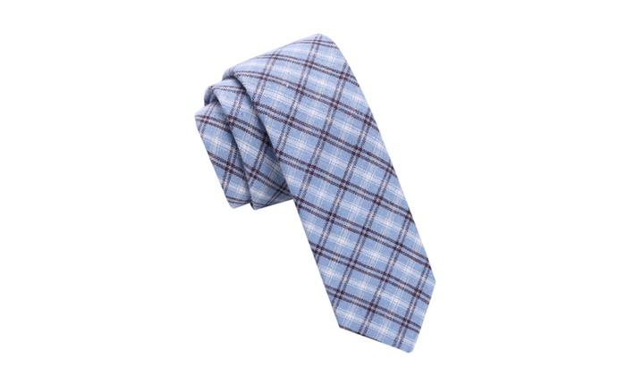 Skinny Tie Madness Men's Bancho Bandit Blue Plaid Skinny tie