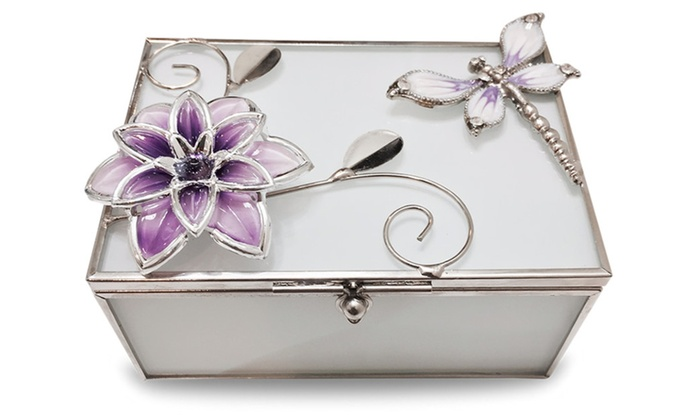 Elegant Glass Jewelry Box with Gorgeous Floral Dragonfly Decoration