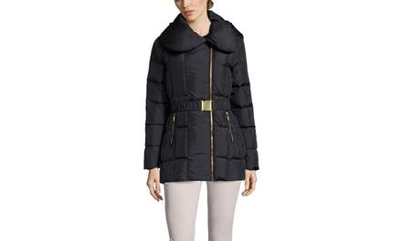 COLE HAAN Envelope Collar Down Coat with Belt