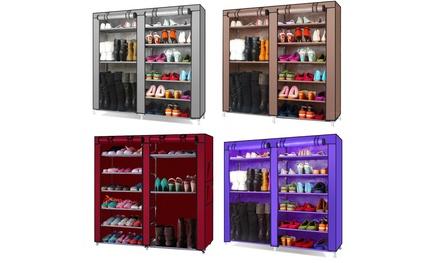 9 Lattices Shoe Rack with Dustproof Cover Closet Shoe Storage Cabinet Organizer