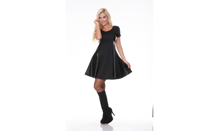 Heather Edgy Leather Panel Dress