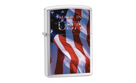 Zippo Made In Usa Flag Lighter Brushed Chrome 24797