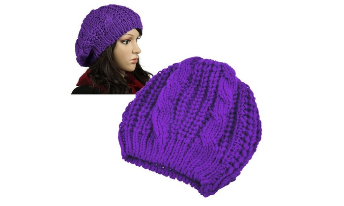 30be070bbca83 Zodaca Purple Women Men Knit Beret Hat Beanie Crochet Ski Baggy Cap ...