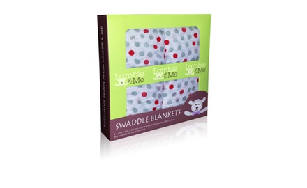 Lambie & Me Organic Cotton Muslin Swaddle Blanket Gift Box, Just Dots, 2 Count