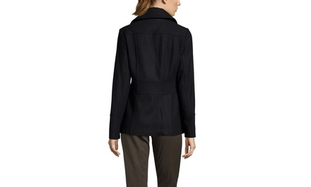 KENNETH COLE NEW YORK Double Breasted Wool-Blend Peacoat