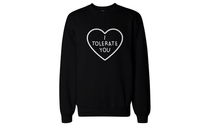 I Tolerate You Women's Cute Graphic Sweatshirt Black Pullover Fleece