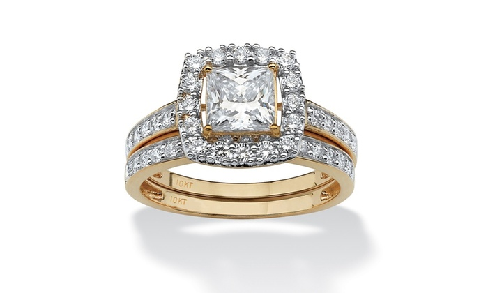 2 piece 1 93 tcw cz square halo bridal ring set in 10k gold