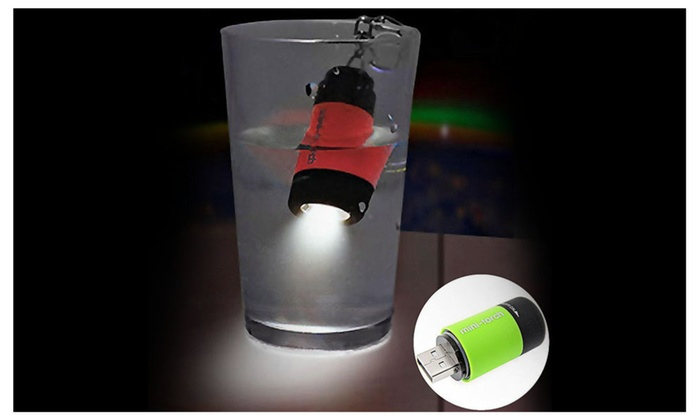 Mini USB Rechargeable LED Flashlight Waterproof Torch with Keychain