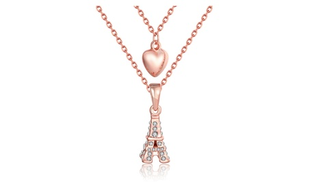 "18K Rose Gold ""From Paris with Love"" Necklace with Swarovski Elements 49c276db-36f3-48f1-a8e0-acdd935fc7dd"