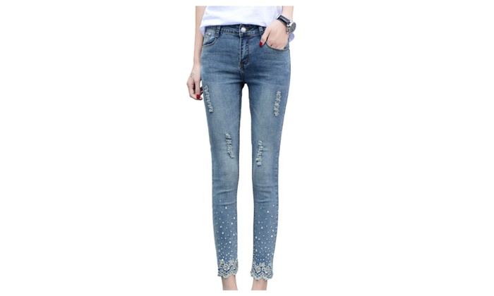 Women's Beaded Lace Midrise Washed Denim Skinny Ripped Jeans