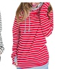 Womens Fashion Striped Side Zipper Hoodie Pullover Sweatshirt Outwear
