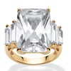 29.95 TCW Cubic Zirconia 18k Gold over Silver Ring