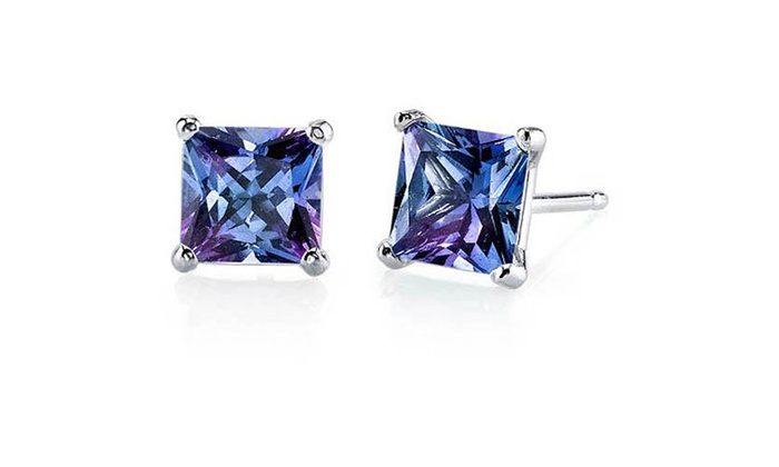 14kt White Gold 3 00 Carat Princess Created Purple Alexandrite Stud Earrings