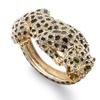 Crystal Enamel Leopard Hinged Bangle Bracelet in Yellow Gold Tone