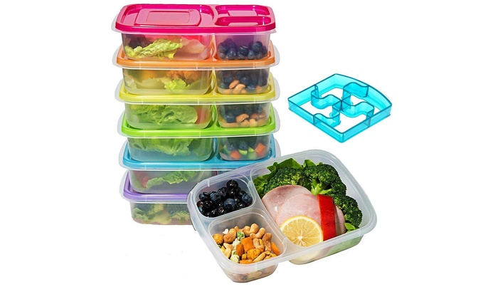 7d6927ce28cd Bento Lunch Box, Meal Prep Containers Set (6) with Lids/Easy 3-Compartment  BPA