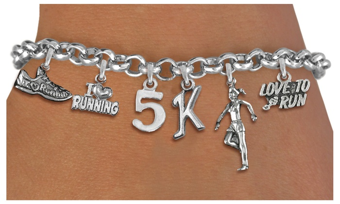 8k Or 10k Running Themed Multi Charm Silver Tone Bracelet