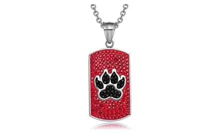 Wolf Paw Austrian Crystals Amulet Protection PowersDog Tag Pendant Necklace