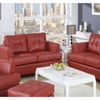 Kalush 2 Pieces Living Room Set In Red Bonded Leather