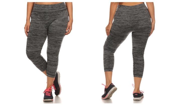 Womens Plus Size Solid Color Activewear Capri Leggings