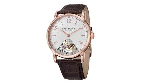 Stuhrling Original Men's Mechanical Skeletonized Genuine Leather Strap Watch 4927d408-3762-4eee-923b-4caabfbaa3cd