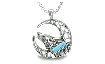Howling Courage Wolf Moon and Stars Amulet Positive Earth Energy Protection Powers Pendant Necklace
