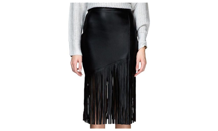 Women's Fashion High Waist Tassels Tight Leather Midi Skirt