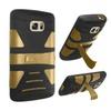 Insten Hard Hybrid Case W/stand For Samsung Galaxy S7 Black/gold