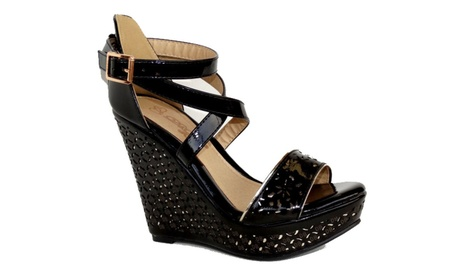 Pattern Wedge Cross Strap Wedge Sandals-Cree-2 Black/Nude d7838d83-cbc4-46f5-b714-67496cfdc442
