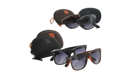 Compact Foldable Sunglasses with Case - Black or Tortoise