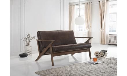 Bianca Modern Walnut-Wood Loveseat or Sofa