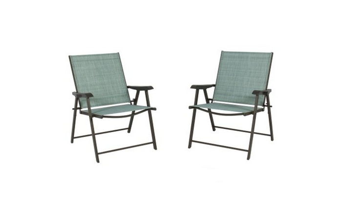 Enjoyable Set Of 2 Folding Chairs Sling Bistro Set Outdoor Patio Bralicious Painted Fabric Chair Ideas Braliciousco