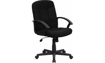 Flash Furniture GO-ST-6-BK-GG Fabric Task and Computer Chair with Nylon Arms