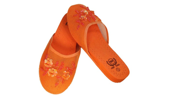 3d1883f6ebb3 Set of 6 Chinese Mesh Slippers Floral Design Sizes 6 to 11 Multi Color
