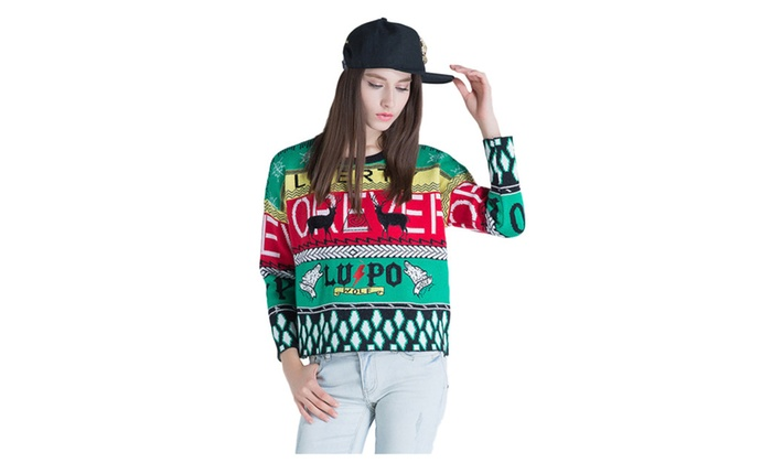 Women's Fashion Print Sayings Knit Puillover Sweater