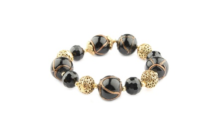 Cleo Collection Black Stretchable 7 Inch Bracelet