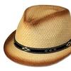 Sakkas Unisex Structured Ombre 100% Paper Straw Black Band Fedora Hat