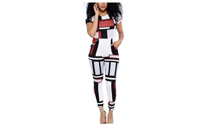 Women's Geometric Printed Bodycon Bandage Party Romper Jumpsuit