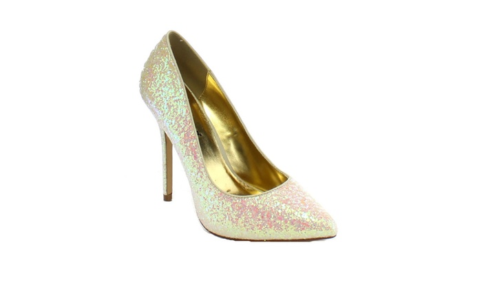 Fabulicious AMUSE-20G Stiletto Heel Hidden Platform Glitter Pumps