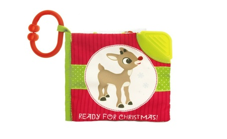 "Rudolph Reindeer 5"" Ready for Christmas Soft Book w Take A Long Clip f6536cb6-b95d-4c1f-828c-3bb96777b1ce"