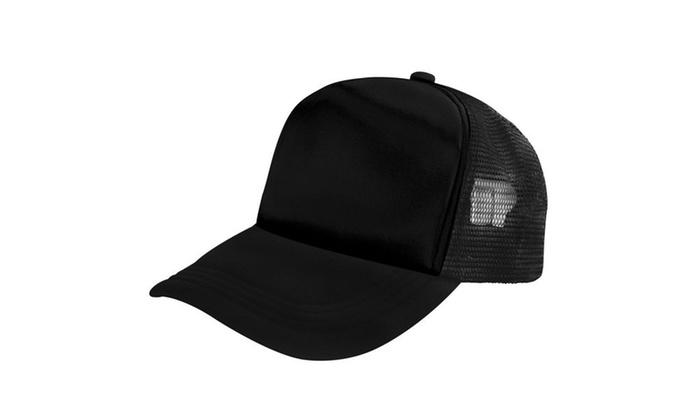 trucker hat baseball cap mesh caps blank plain hats black white walmart buy uk