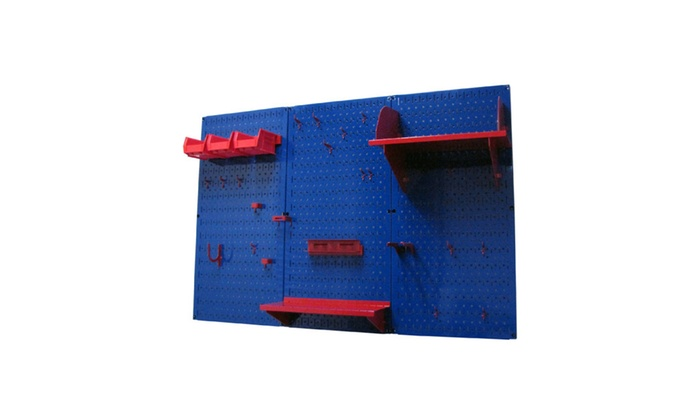 Wall Control 4ft Metal Pegboard Standard Tool Storage Kit Toolbar Blue