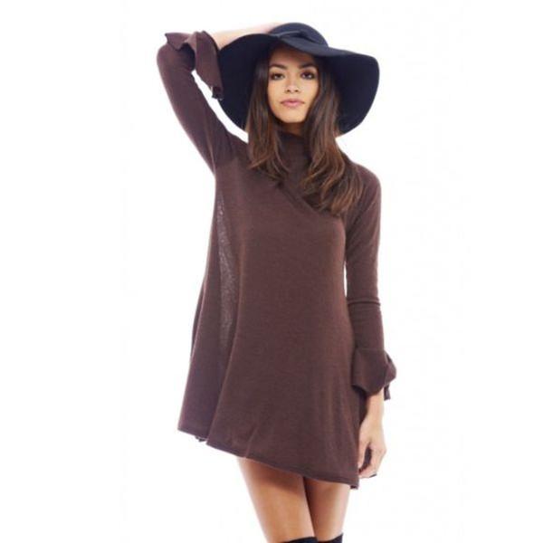 f0ef092278e3 AX Paris Long Sleeved Ruffled Chocolate Dress