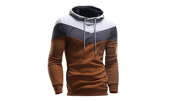 Men's Winter Slim Hooded Outwear Sweater Hoodies - Camel / XX-Large